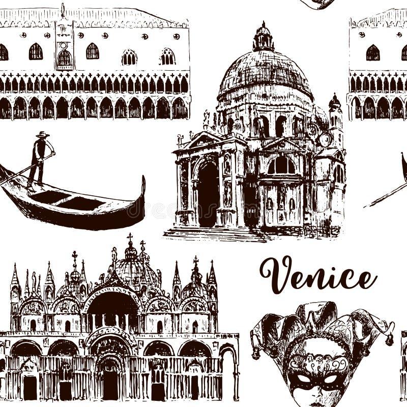 Wenecja architektonicznych symboli/lów bezszwowy wzór ustawiający: Karnawał maska, palazzo, bazylika, San Marco, gondola nakreśle ilustracja wektor