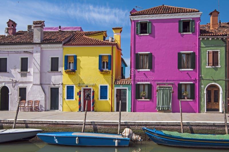 Wenecja, Burano wyspa kanał, Włochy obraz stock