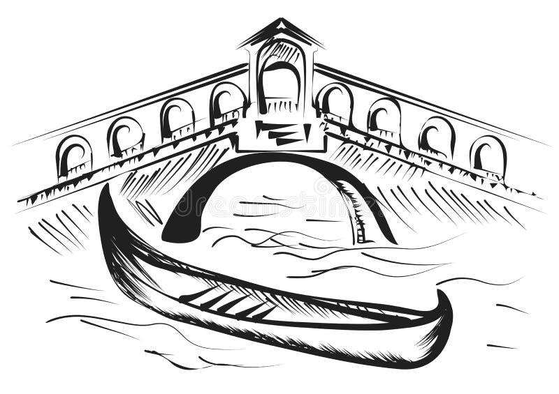 Wenecja gondola royalty ilustracja