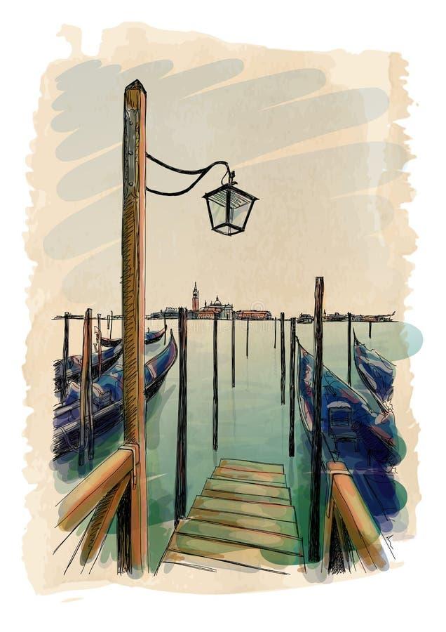 Wenecja Gondole na wodzie ilustracji