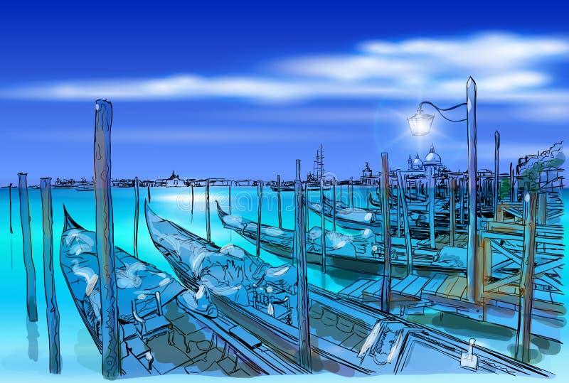 Wenecja Gondole na wodzie royalty ilustracja