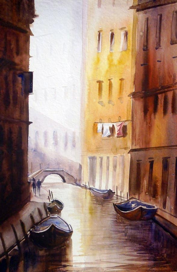 Wenecja kanały - akwarela obraz royalty ilustracja
