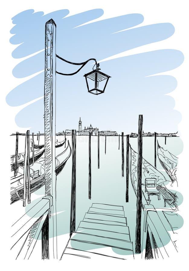Wenecja Quay piazza San Marco royalty ilustracja
