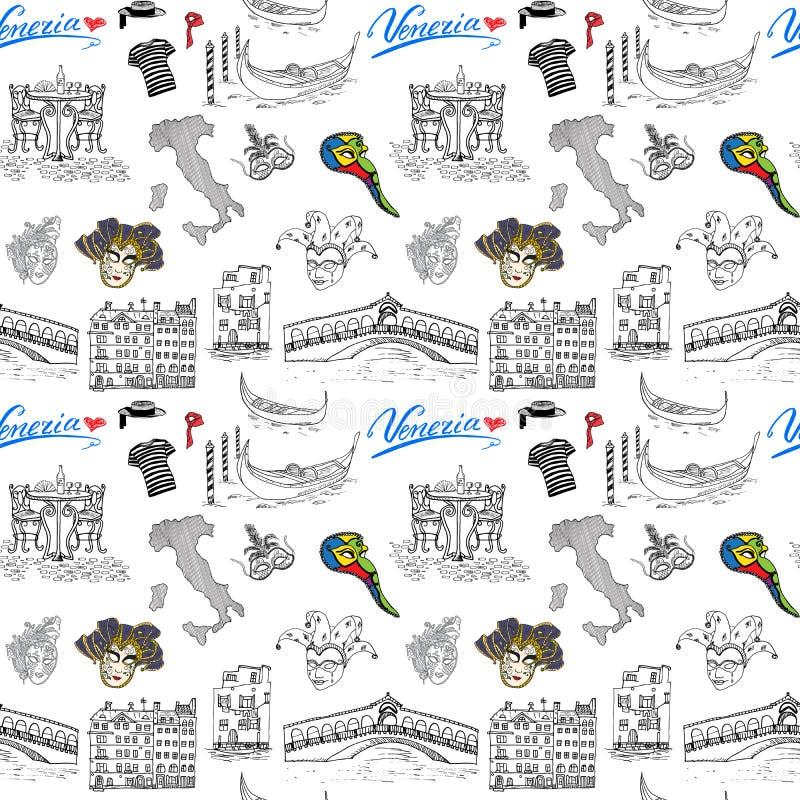 Wenecja Włochy bezszwowy wzór Ręka rysujący nakreślenie z mapą Włochy, gondole, gondolier odziewa, karnawałowe venetian maski, do ilustracja wektor