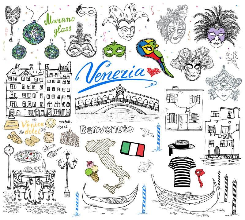 Wenecja Włochy nakreślenia elementy Wręcza rysującego set z flaga, mapa, gondola gondoliera clouth, domy, pizza, tradycyjni cukie ilustracji