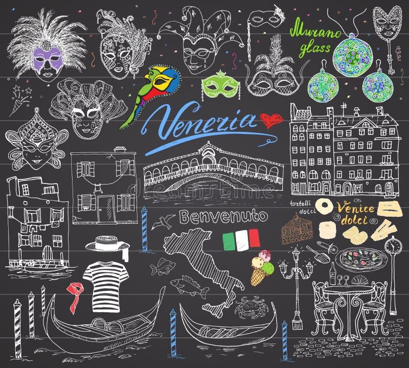 Wenecja Włochy nakreślenia elementy Wręcza rysującego set z flaga, mapa, gondole dom, pizza, tradycyjni cukierki, carniva gondoli royalty ilustracja