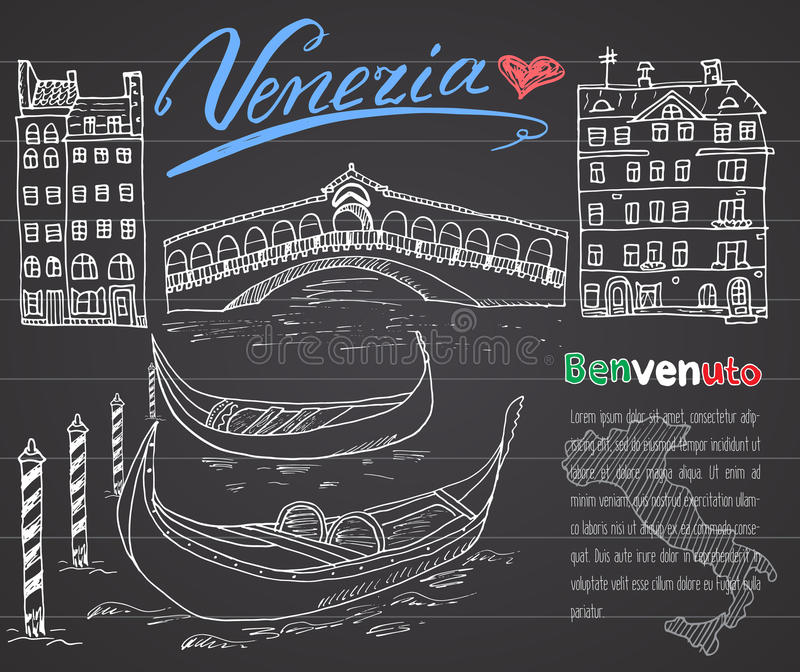 Wenecja Włochy nakreślenia elementy Wręcza rysującego set z flaga, mapa, gondole, domy, rynku most Literowanie Wenecja, powitanie ilustracja wektor