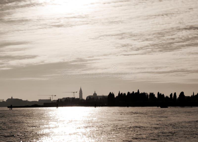 Wenecja w roczniku barwi, od laguny w Wenecja, Włochy, Europa zdjęcie royalty free
