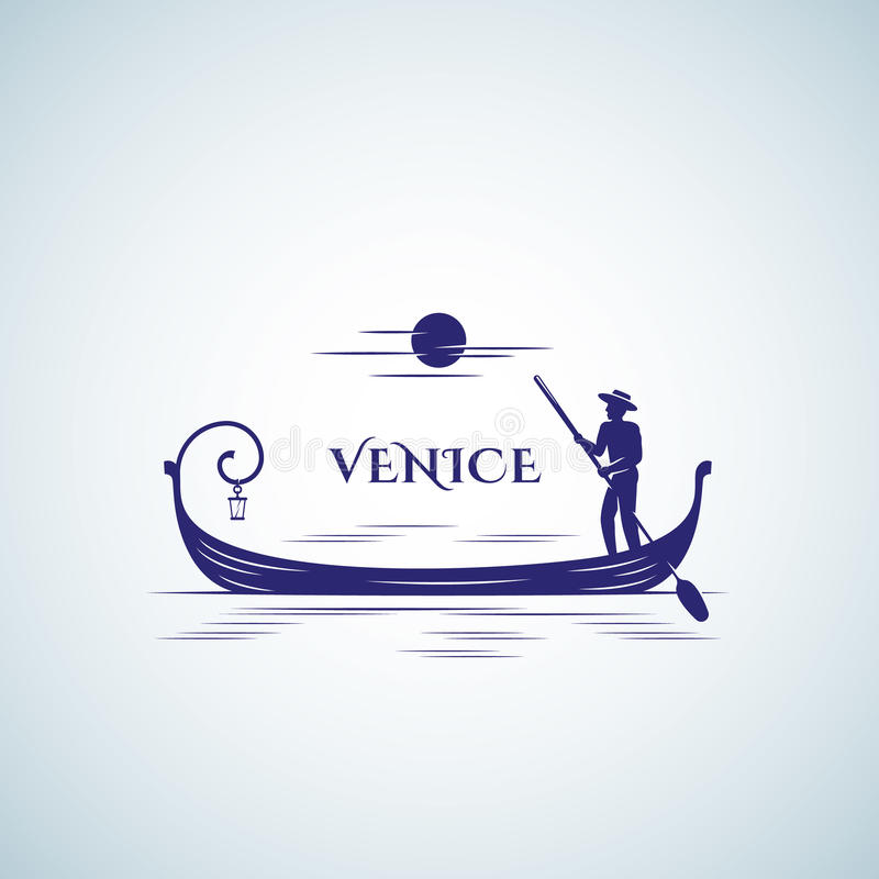Wenecja wektoru Łódkowaty Abstrakcjonistyczny znak, emblemat lub loga szablon, Spławowa gondola, księżyc i barkarz sylwetka, ilustracja wektor