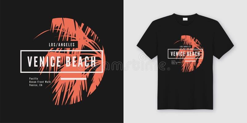 Wenecja wyrzucać na brzeg koszulki i odzieży modnego projekt z drzewkiem palmowym si royalty ilustracja