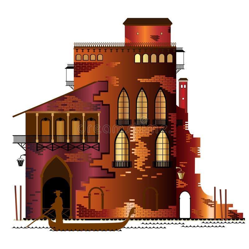 Wenecja zmierzchu dom ilustracja wektor