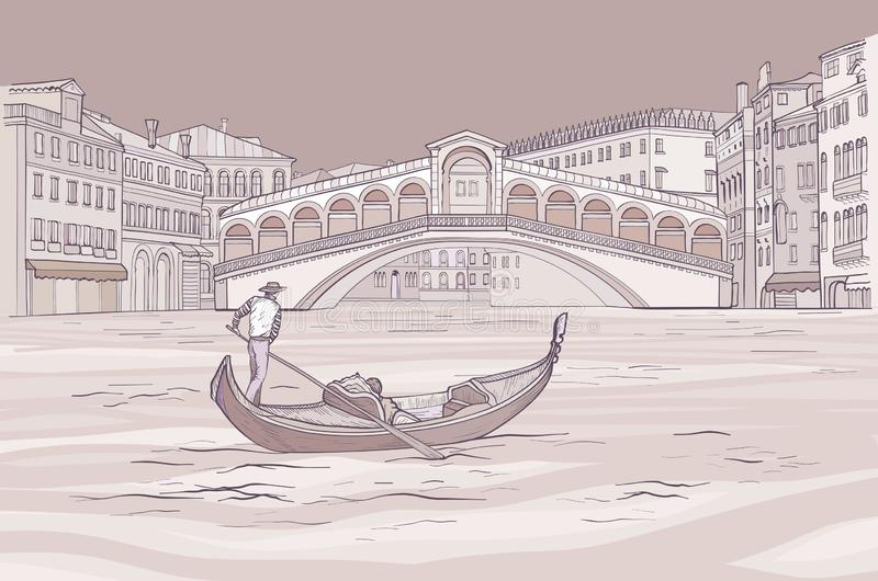 Wenecka gondola z gondolierem blisko Realto mostu royalty ilustracja