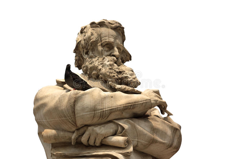 Wenecka statua z brody twarzy zbliżeniem z gołąbką na ręki isola zdjęcie royalty free