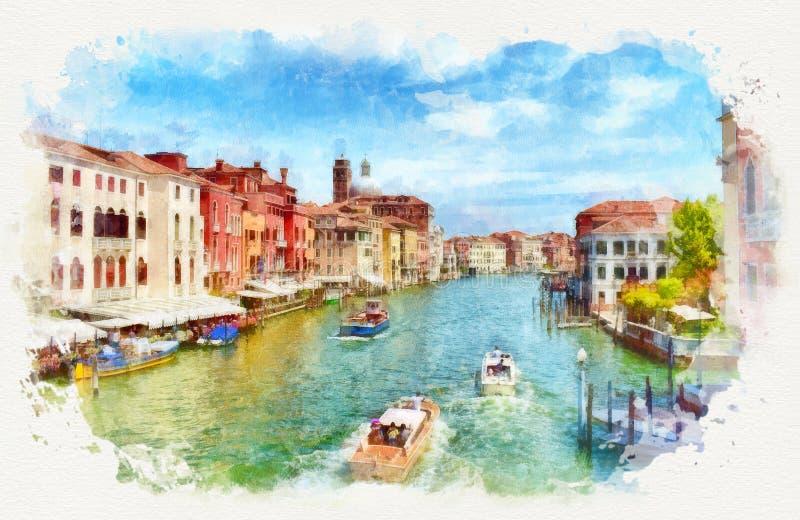 Wenecki Grand Canal z łodziami, akwarela obraz ilustracja wektor