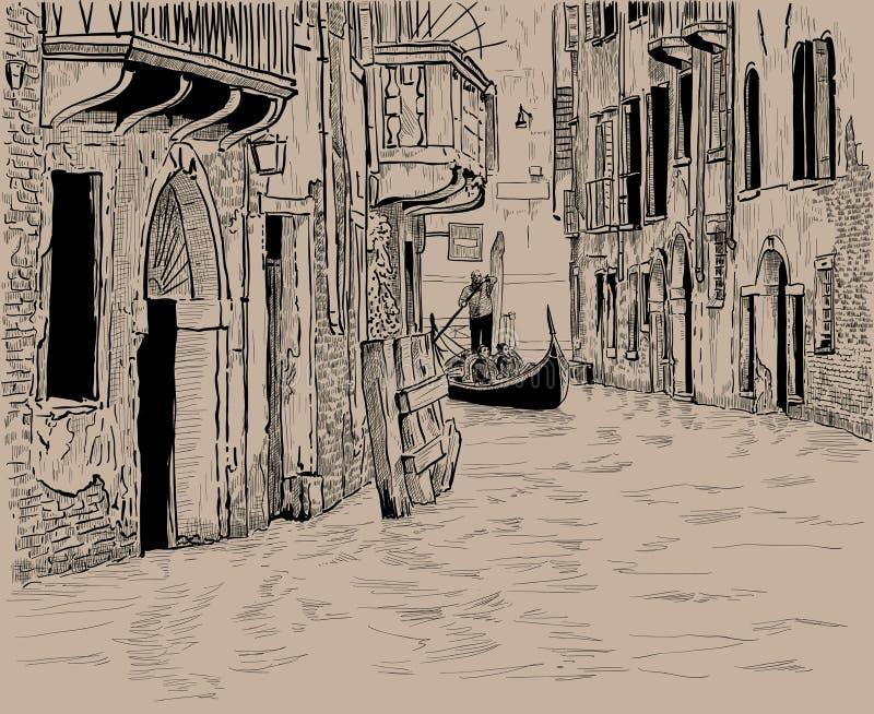 Wenecki kanał i Unikalna gondola z turystami wśród starych domów w Wenecja Cyfrowego nakreślenia ręki rysunek royalty ilustracja