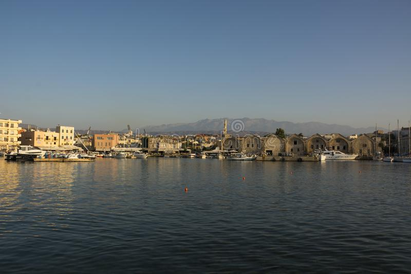 Wenecki schronienie i port Chania Stary miasteczko Crete wyspa Grecja zdjęcia royalty free