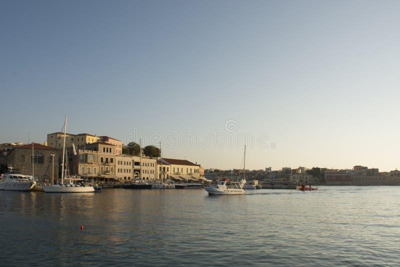 Wenecki schronienie i port Chania Stary miasteczko Crete wyspa Grecja obraz royalty free