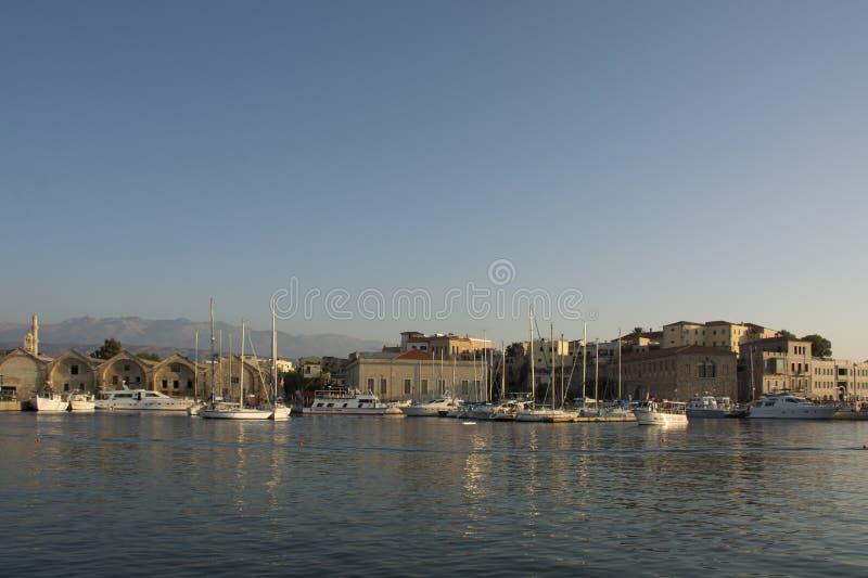 Wenecki schronienie i port Chania Stary miasteczko Crete wyspa Grecja obrazy royalty free