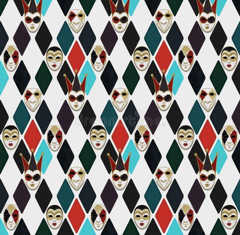 Weneckie karnawał maski w rhombus, wzór ilustracji