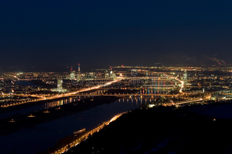 Wenen bij Nacht stock afbeeldingen