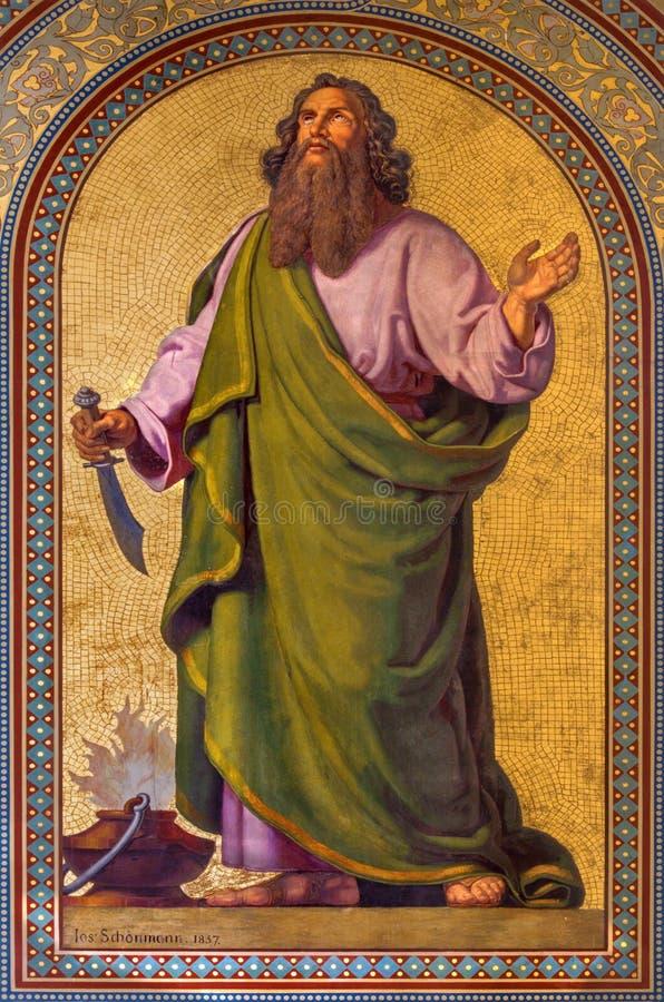 Wenen - Fresko van Abraham door Joseph Schonman van jaar 1857 in Altlerchenfelder-kerk stock afbeeldingen