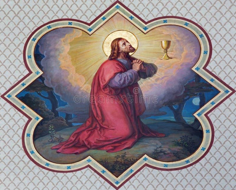 Wenen - Fresko van Christs-gebed in Gethsemane stock afbeeldingen
