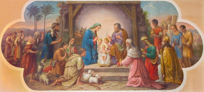 Wenen - Fresko van Geboorte van Christusscène door Josef Kastner ouder van 20 cent in Erloserkirche-kerk royalty-vrije stock fotografie