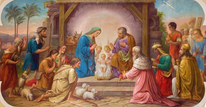 Wenen - Fresko van Geboorte van Christusscène door Josef Kastner ouder van 20 cent in Erloserkirche-kerk stock foto