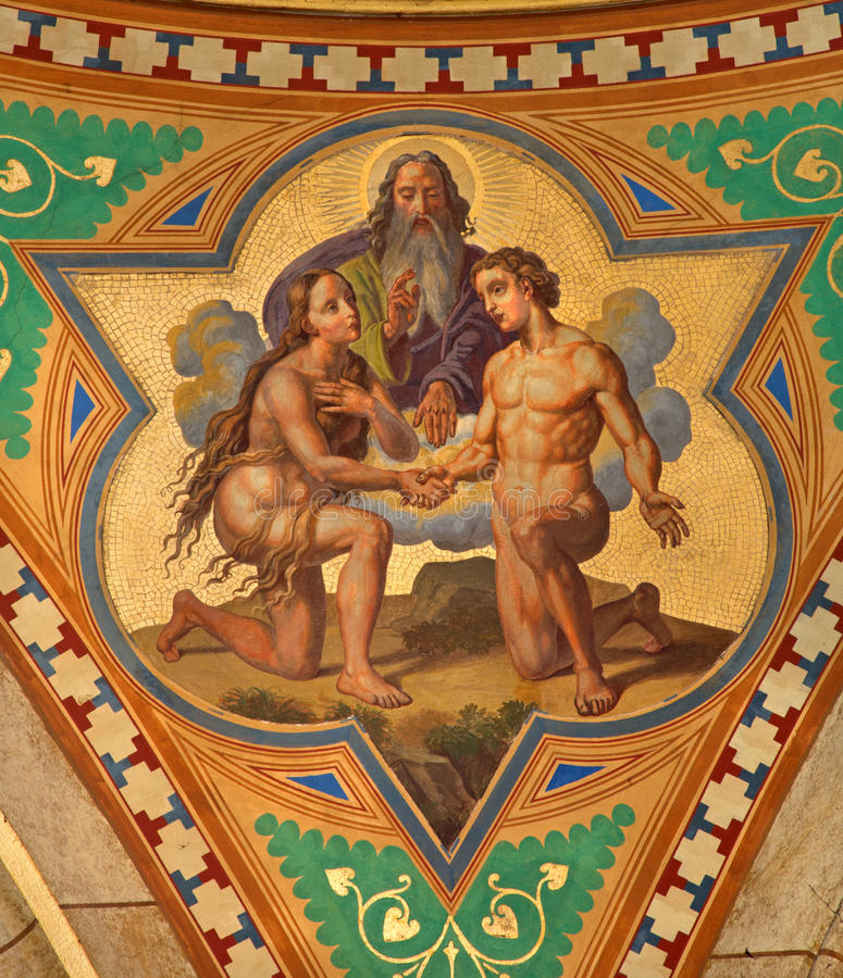 Wenen - Fresko van Huwelijk van de scène van Adam en van Eva in zijschip van Altlerchenfelder-kerk van. cent 19. royalty-vrije stock fotografie