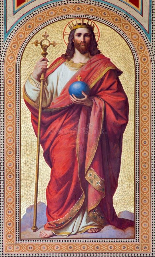 Wenen - Fresko van Jesus Christ als Koning van de Wereld door Karl von Blaas van. cent 19. in schip van Altlerchenfelder-kerk stock fotografie