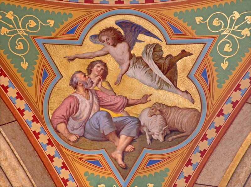 Wenen - Fresko van revelatie van engelen aan herdersscène in zijschip van Altlerchenfelder-kerk royalty-vrije stock fotografie