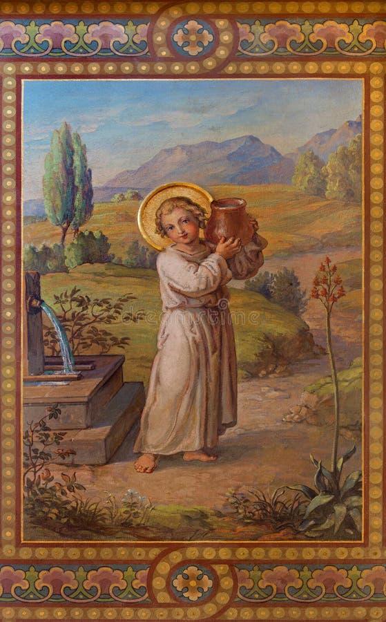 Wenen - Fresko van weinig Jesus royalty-vrije stock foto