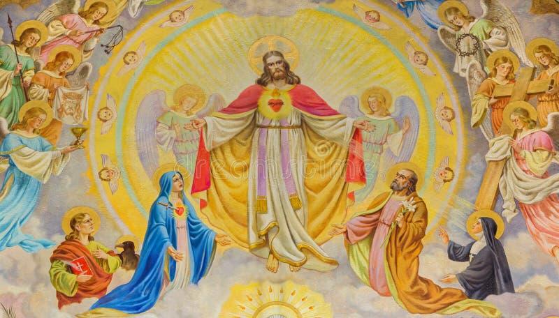 Wenen - het mozaïek van Jesus Christ met de engelen op de Russische Orthodoxe kathedraal van Sinterklaas stock afbeelding
