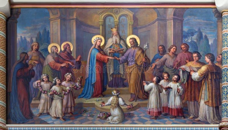 Wenen - Huwelijk van de fresko van Mary en van Joseph royalty-vrije stock afbeelding