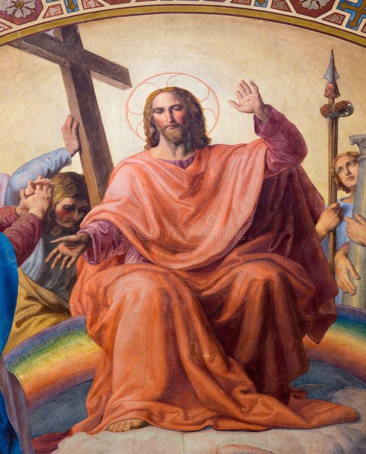 Wenen - Jesus Christ. Detail van fresko van Laatste oordeelscène door Leopold Kupelwieser van 1860 in schip van Altlerchenfelder-k stock foto's