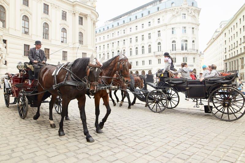 Wenen, Oostenrijk - 15 April 2018: een cabinebestuurder in een vervoer met twee paarden drijft toeristen rond de stad stock afbeeldingen