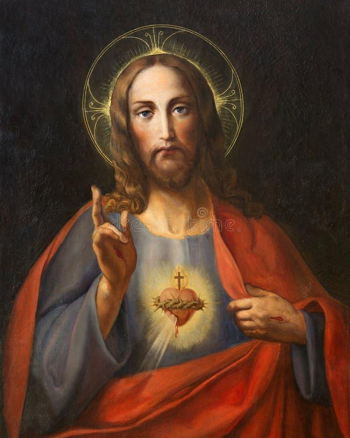 WENEN, OOSTENRIJK - DECEMBER 19, 2016: Het schilderen van Hart van Maagdelijke Mary in kerk kirche St Laurenz stock foto