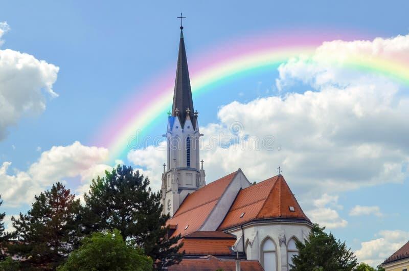 WENEN, OOSTENRIJK - JUNI 19, 2018: Mooie regenboog stock afbeelding
