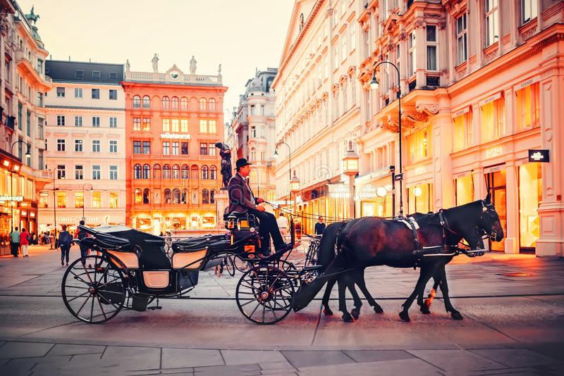 Wenen, Oostenrijk Paard en vervoer die op de straten van Wenen in de avond bevrijden stock fotografie