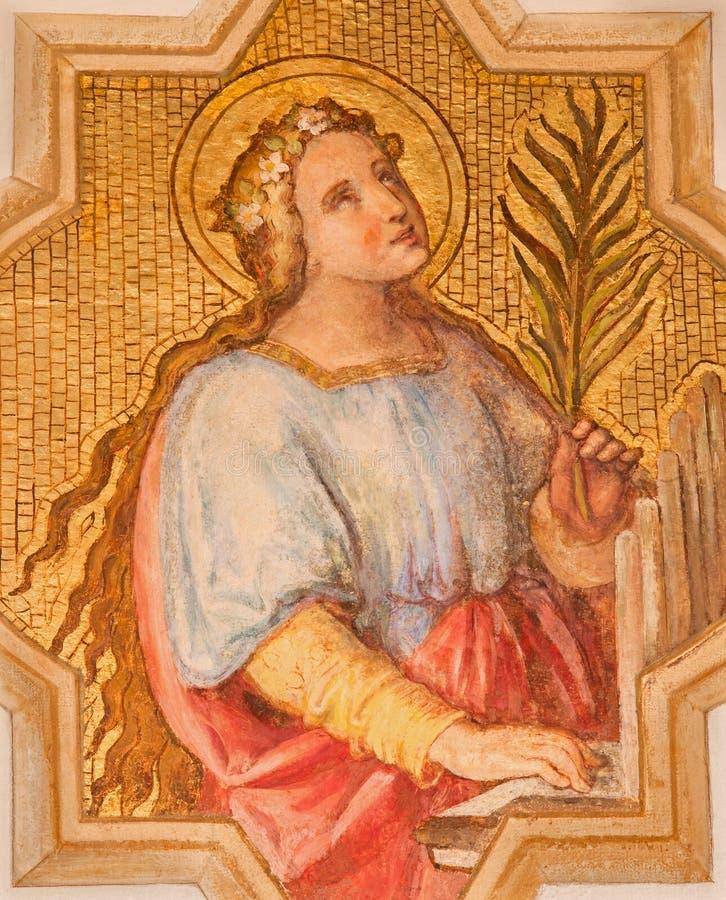Wenen - st Cecilia patrones van musici door Josef Kastner jonger van 20 cent in de kerk Muttergotteskirche royalty-vrije stock foto