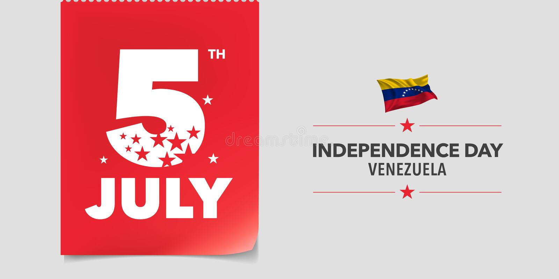 Wenezuela dnia niepodległości szczęśliwa kartka z pozdrowieniami, sztandar, wektorowa ilustracja ilustracja wektor