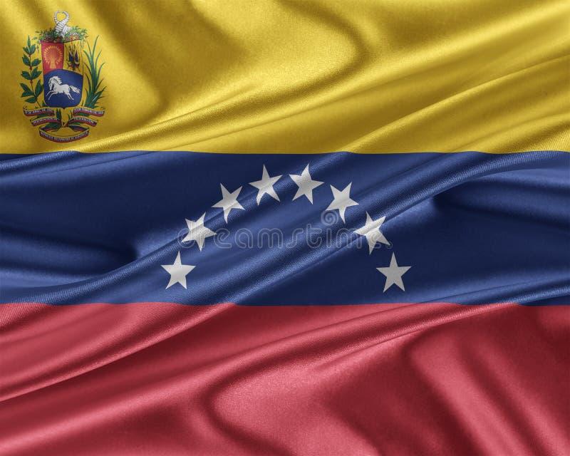 Wenezuela flaga z glansowaną jedwabniczą teksturą ilustracja wektor