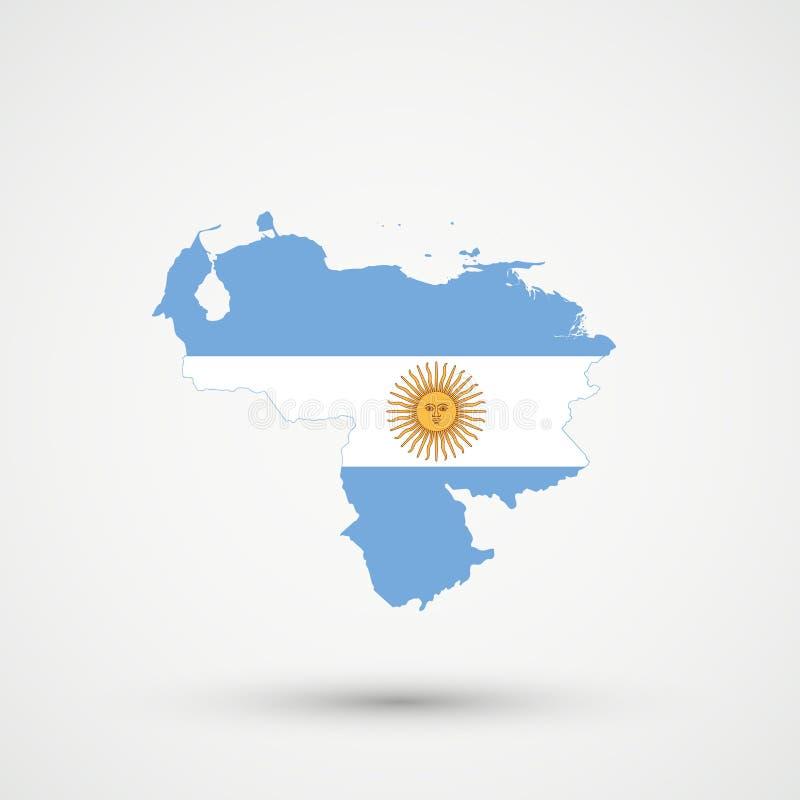 Wenezuela mapa w Argentyna flagi kolorach, editable wektor ilustracja wektor