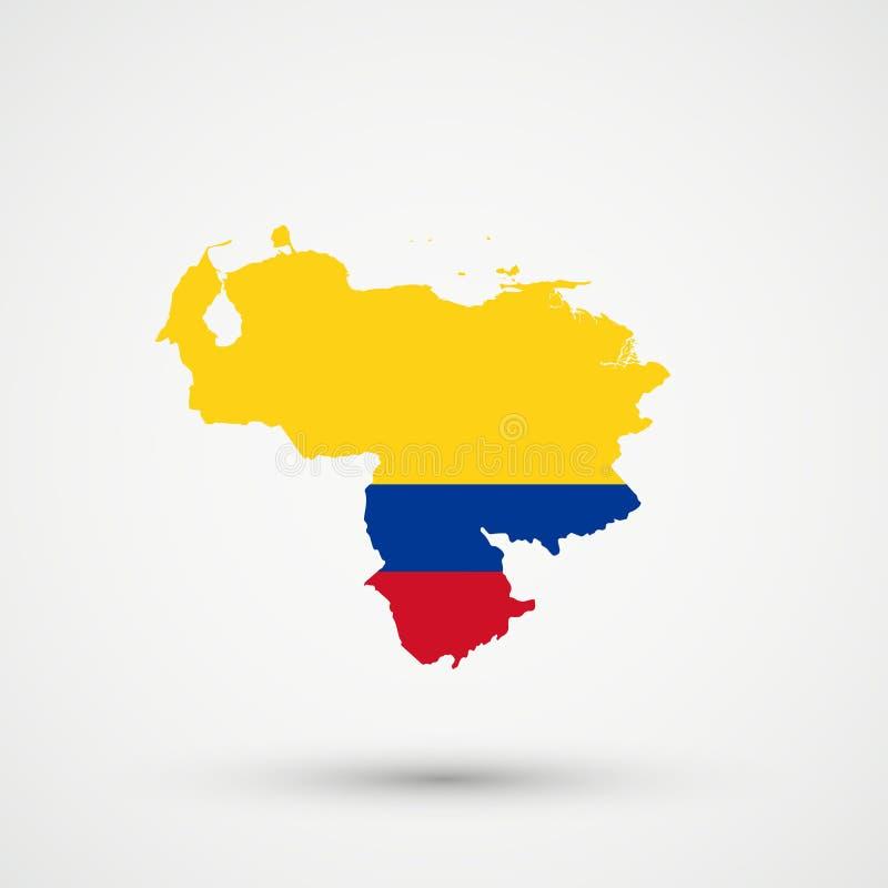 Wenezuela mapa w Kolumbia flagi kolorach, editable wektor royalty ilustracja