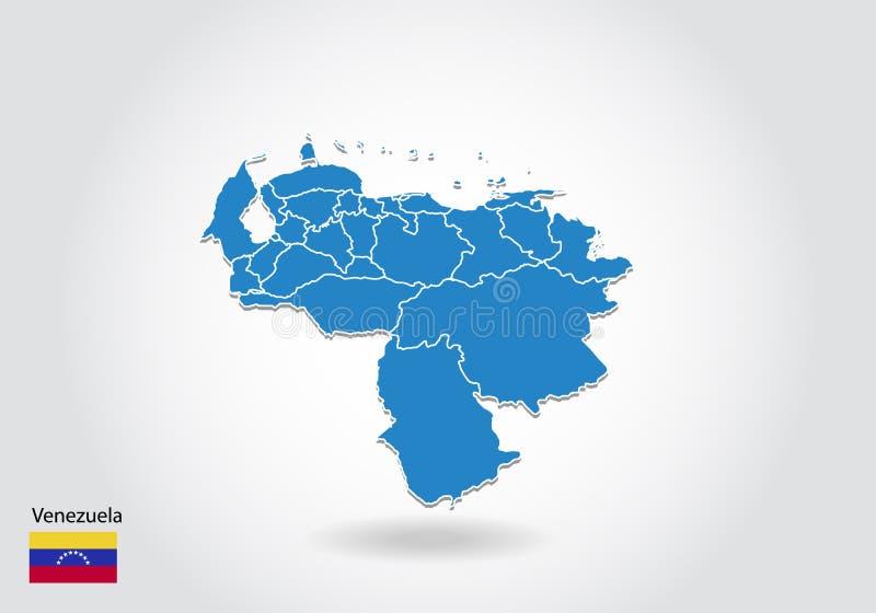 Wenezuela mapy projekt z 3D stylem Błękitna Wenezuela flaga państowowa i mapa Prosta wektorowa mapa z konturem, kształt, kontur,  ilustracja wektor