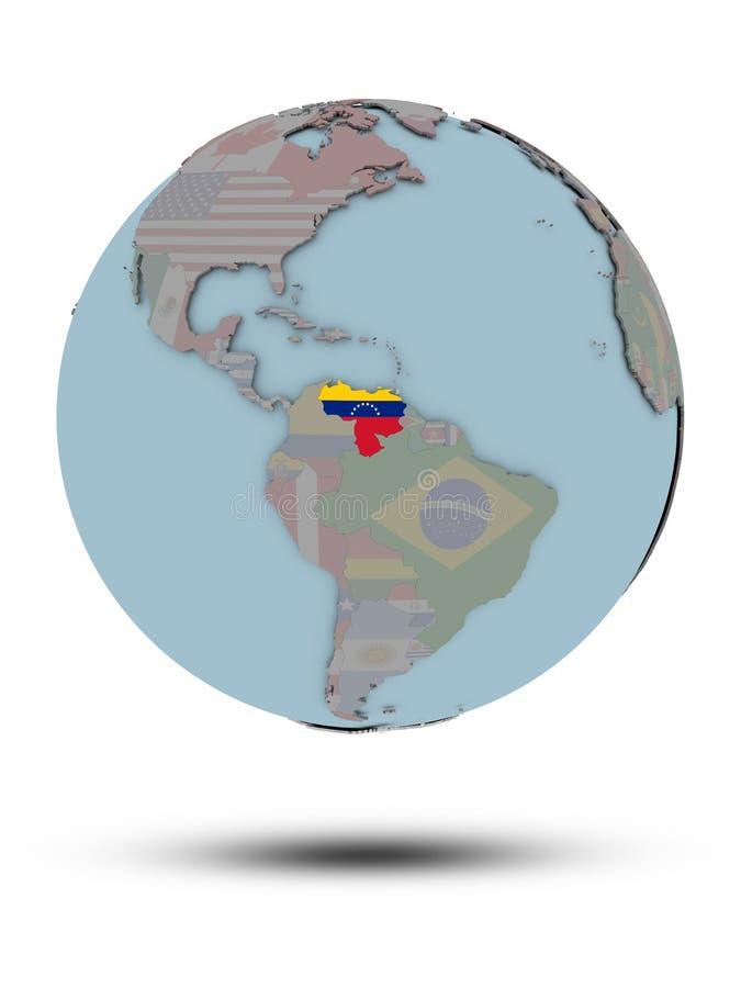 Wenezuela na politycznej kuli ziemskiej odizolowywającej ilustracja wektor
