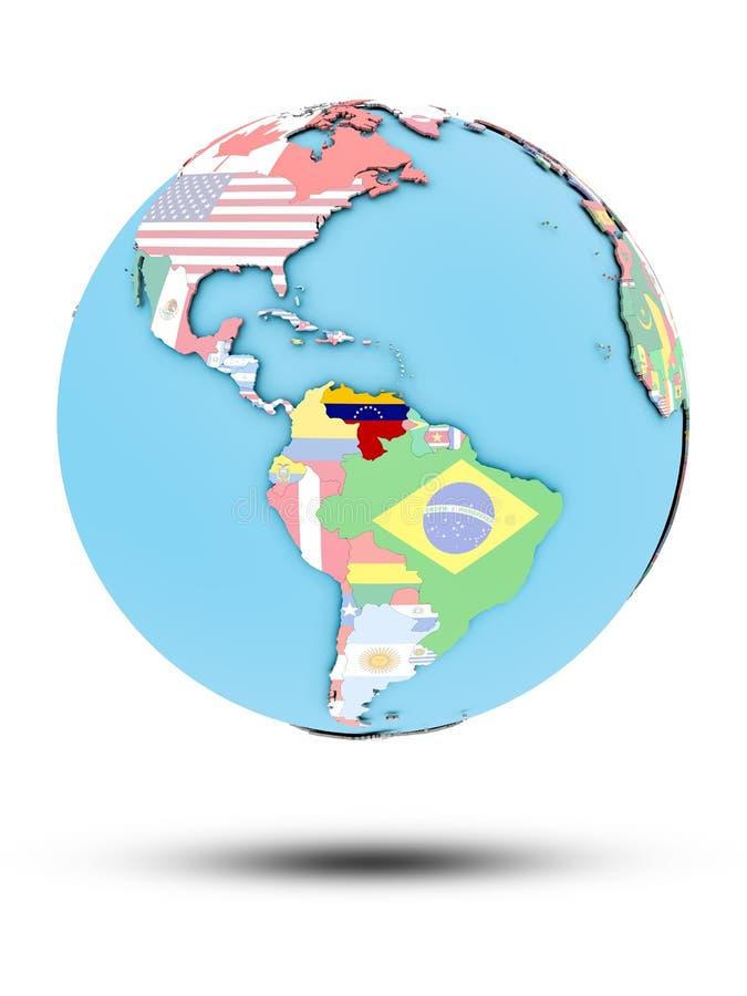 Wenezuela na politycznej kuli ziemskiej z flaga royalty ilustracja