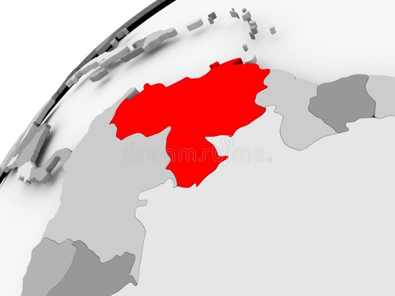 Wenezuela na popielatej politycznej kuli ziemskiej royalty ilustracja