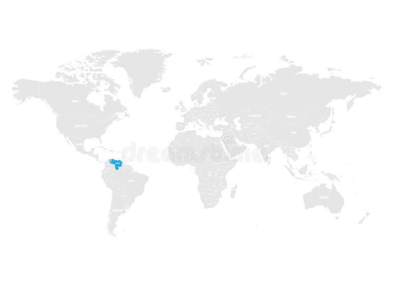 Wenezuela zaznaczał błękitem w popielatej Światowej politycznej mapie również zwrócić corel ilustracji wektora ilustracja wektor