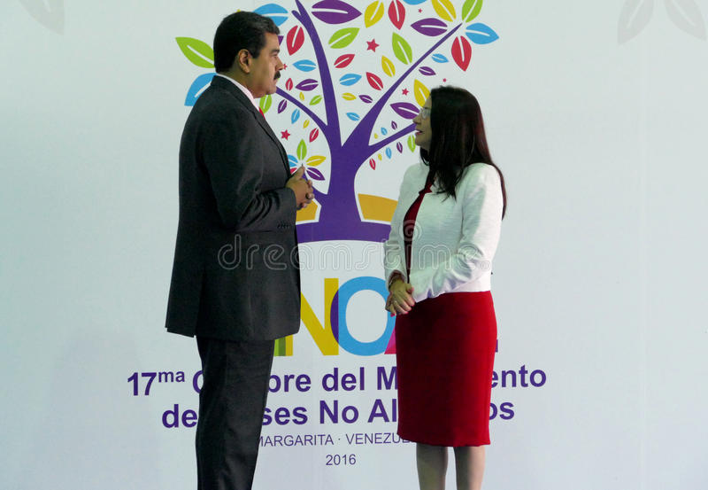 Wenezuelski prezydent Nicolas Maduro Flores i pierwszy damy rzęska obrazy stock